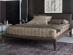 Cama Alcudi 160x200 cuero. Cama Alicudi. Estructura de acero, somier de lamas fijas con regulación de dureza. Revestida de cuero desenfundable (no inluidos colchón ni téxtil).