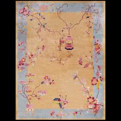 Stock Id: #21285    General Rug Type:       Chinese    Specific Rug Type:       Chinese - Art Deco    Circa: 1940    Color: Yellow    Origin: China    Width: 9' 10'' ( 299.7 cm )    Length: 13' 6'' ( 411.5 cm )