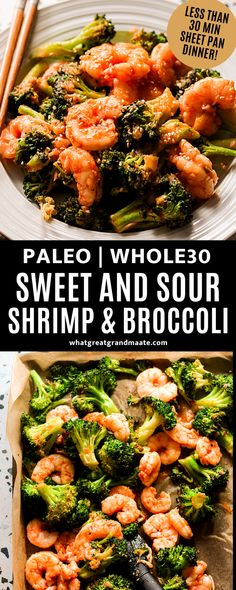 Healthier and better-than-takeout paleo sweet and sour shrimp with broccoli! This is an easy Whole30 sheet pan dinner that takes 30 minutes from start to finish. #sheetpanmeal #sheetpandinner #30minutesorless #whole30 #paleo #sweetandsour Best Paleo Recipes, Whole 30 Recipes, Real Food Recipes, Broccoli Dishes, Broccoli Recipes, Paleo Dinner, Dinner Recipes, Healthiest Seafood, Cooking For Beginners