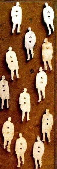 Man Buttons or over sized wood cuts for wall decoration or door handles...
