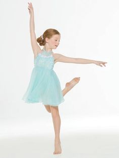 NEW! 2017 Collection Contemporary & Lyrical Costumes: Sequin spandex leotard with crinkle chiffon overlay and beaded floral applique has removable, adjustable nude shoulder straps and a halter neckline. Attached skirt is layers of chiffon under crinkle chiffon.  Includes headpiece, bobby pins, clear adjustable shoulder straps, hanger and garment bag.