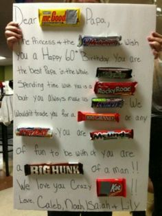 Candy bar poster for birthday