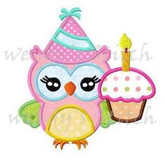Birthday cupcake owl applique machine embroidery design digital pattern