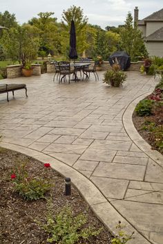 Most Beautiful Stamped Concrete Outdoor Patio Ideas – Stained, Stamped, Scored and Vibrant Stamped Concrete Driveway, Stamped Concrete Patterns, Concrete Backyard, Concrete Patio Designs, Cement Patio, Backyard Patio Designs, Backyard Landscaping, Decorative Concrete, Patio Ideas With Concrete