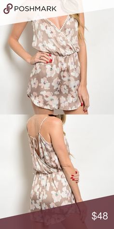Floral Silky Romper Material is smooth like silk but not silk. Back can be tied tighter as needed. SMALL: Lenght 31 inches. Bust 32 inches. MEDIUM: Length 32 inches. Bust 34 inches. LARGE: Length 33 inches. Bust 36 inches. Peppermint Dresses