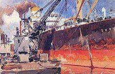 Albert Brenet (1903- 2005).DUPLEIX I à quai.  32 x 24cm.