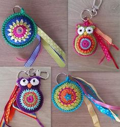 """diy_crafts-CreaTinie: januari 2014 """"Keychains - such cute gifts (no pattern, just the idea) would be fun for kids backpacks"""" Crochet Gifts, Diy Crochet, Crochet Toys, Crochet Leaf Patterns, Amigurumi Patterns, Crochet Keychain Pattern, Simply Crochet, Fabric Flower Brooch, Crochet Accessories"""