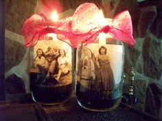 Mason Jar memories.. We used these for centerpieces for 80th Birthday party... made with sand, candle and your favorite photo printed out on copy paper loved ones love to share their stories about the photos, we also tied balloons on the ring of jar by leigh