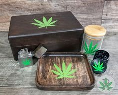 Complete Smoker Gift Set includes Wood Stash Box, Wood Rolling Tray, Stash Jar, Herb Grinder, and Wind Proof Lighter Weed Box, Stash Jars, Stoner Gifts, Pipes And Bongs, Smoke Shops, Resin Crafts, Cool Things To Buy, Stoner Girl, Smoke Weed