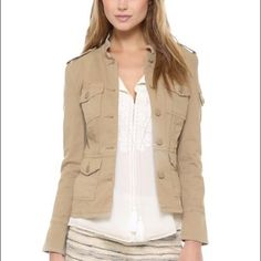 Tory Burch SGT PEPPER MILITARY JACKET Tory Burch beige military/utility style button up.4 front pocket. One sleeve pocket. beige buttons. Size large. Measurements: chest - 19in, length: 22.5in. 98% cotton, 2% spandex. No trades, sorry. Offers are welcome. Tory Burch Jackets & Coats Utility Jackets