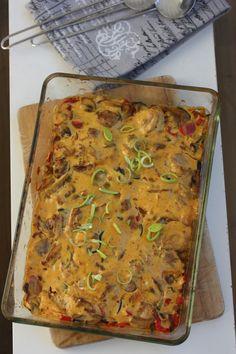 Kremmet kyllingform med karri go mangochutney Lasagna, Nom Nom, Bbq, Turkey, Food And Drink, Chicken, Baking, Dinner, Health