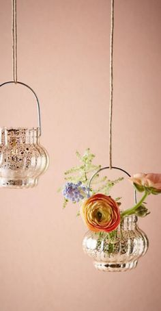 Hanging mercury glass votives >> think outside the box for your wedding day decor