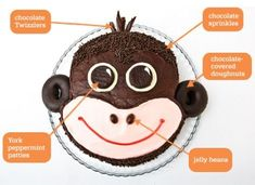 DIY Monkey Cake: Make a monkey birthday cake with chocolate covered-doughnuts. Easy, step-by-step recipe, diagrams and pictures. With a few adaptations I think I can pull this off! Sock Monkey Cakes, Monkey Birthday Cakes, Animal Birthday Cakes, Monkey Birthday Parties, Cake Birthday, 31 Birthday, Birthday Ideas, Thomas Birthday, Rodjendanske Torte