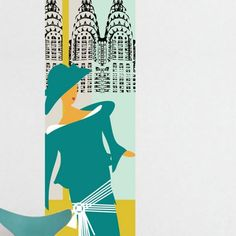 Mural ATADesigns High Society Art Deco Mural Art Deco w odcieniu mięty i turkusu, w tle architektura Art Deco.