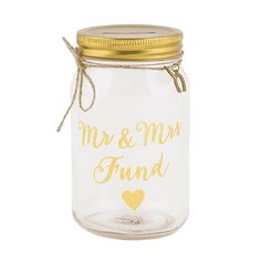 Mr & Mrs Fund Jar Money Box: For those planning their happily ever after, the Mr & Mrs Gold collection will not fail to inspire. Gold type on a glass fund jar money box to help save for the big day. Mr Mrs, Money Jars, Money Box, Mason Jar Crafts, Mason Jars, Pots, Sass & Belle, Gift Finder, Candle Jars