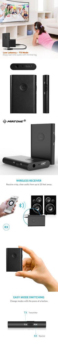 2-in-1 Stereo Wireless Bluetooth Receiver 3.5mm Jack Bluetooth Audio Music Transmitter Adapter APTX for TV Car Speaker Headphone