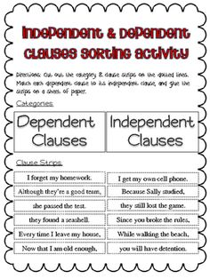 Is it an independent clause or a dependent clause dependent grammar practice independent dependent clauses common core aligned ccuart Image collections
