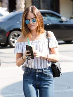 Lucy Hale stops by Starbucks in Los Angeles.