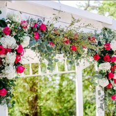 Ceremony décor, live flowers, gazebo wedding, outdoor wedding