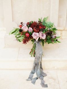 Burgundy and Mauve Bouquet with Silk Ribbons | Jessica Gold Photography | http://heyweddinglady.com/vintage-love-letter-wedding-berry-champagne/