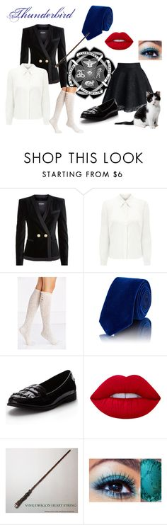 """My Ilvermorny Uniform"" by gravityfallsgirl33 ❤ liked on Polyvore featuring Balmain, Eastex, Urban Outfitters, Penrose London and Lime Crime"