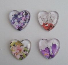 Checkout this amazing product 4 Handmade Floral Heart Domed glass Picture by DBHjewellery, $5.95 at Shopintoit