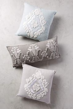 Cyrille Pillow - anthropologie.com #anthrofave #anthropologie - Idea to put a lace design on pillows (similar to embroidery).