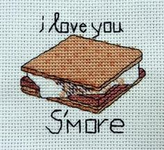 """I Love You S'more"" Counted Cross Stitch"