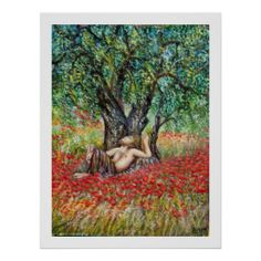 PAN, OLIVE TREE AND POPPY FIELDS POSTER by Alessandro Lumini