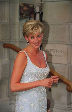 Princess Diana attends a gala reception & preview of her 'Dresses Auction' at Christies in London, June 2, 1997.
