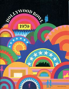 Hollywood Bowl program, by Deborah Sussman. Sussman used a shell motif for this design to reflect the venue's closeness to the beach and shell-like protection from the elements. Retro Graphic Design, Graphic Design Posters, Graphic Design Typography, Graphic Design Illustration, Graphic Design Inspiration, Graphic Art, Graphisches Design, Wave Design, Layout Design