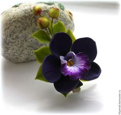 Заколки ручной работы. Ярмарка Мастеров - ручная работа. Купить Орхидея с бутонами. Handmade. Тёмно-фиолетовый, Украшение ручной работы