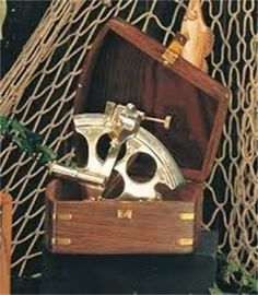 """6"""" Brass sextant with wooden box  $89 : SOLD OUT CALL TO ORDER Antique Shops, Wooden Boxes, Brass, Bird, Antiques, Outdoor Decor, Home Decor, Wood Boxes, Antiquities"""