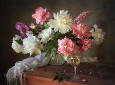 Still life with bouquet of peonies by Tatiana Skorokhod