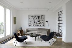 living room // grey scale // custom area rug // art // texture