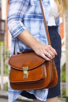 light plaid, block heels, wood watch, saddle bag