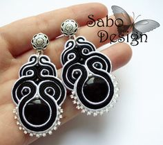 MAKALU   soutache earrings handmade embroidered in black by SaboDesign.