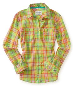Long Sleeve Sheer Plaid Shirt from Aeropostale