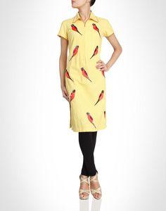 Yellow kurti embroidered parakeet motifs. Shop Now: www.kimaya.in