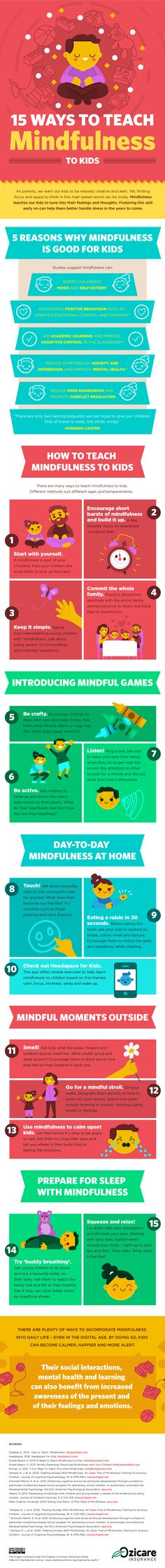 How to teach your kids to be mindful, including the benefits to them, mindfulness games to play, and more