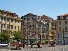 Rossio Square - City center downtown Lisbon, Portugal