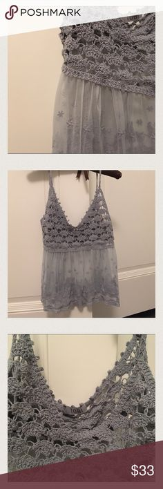 TOBI crystal clear grey blue top ✨NEVER WORN✨ perfect condition⚡️FIRM PRICE AT $15, No offers⚡️ Tobi Tops