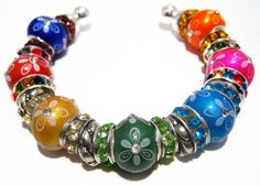Jellybeans  Rainbow Pandora Style Cuff Bracelet by BrankletsNBling, $37.00