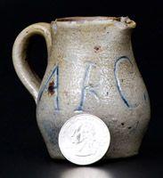 Unusual Miniature Stoneware Pitcher Inscribed