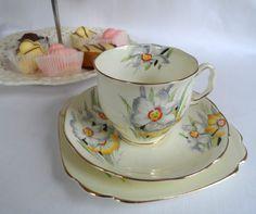 Royal Albert Crown China Tea Cup Trio Set Narcissus Floral Art Deco | eBay