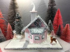 Pink miniature bay window cottage paper glitter house