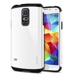 Spigen Slim Armor Galaxy Case with Air Cushion Technology and Hybrid Drop Protection for Samsung Galaxy 2014 - Shimmery White Samsung Galaxy S5, Galaxy S4 Case, Galaxy Phone, Cell Phone Store, Cell Phone Cases, Accessoires Samsung, Japanese Screen, Smartphone, Accessories