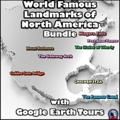 Don't get left behind! Cross off all of these North American landmarks from your bucket list and travel to them virtually. Teachers, parents, and students all agree that these are the best ways to learn about and experience these exotic sites, if you can't go there in person. Each product includes a document of talking points and interesting facts about each tourist attraction.The tours are also accompanied by PDF files that describe what you are seeing based on the corresponding minutes. Social Studies For Kids, Social Studies Activities, Classroom Activities, Talking Points, Teaching Technology, Upper Elementary, Interesting Facts, Creative Teaching, Teaching Ideas