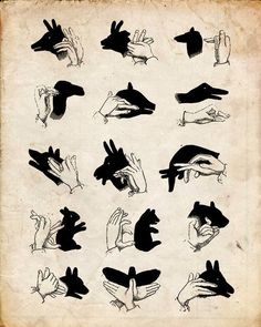 "Vintage Illustration ""Shadow Puppets"" Antique Silhouette Print ..."