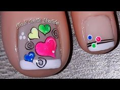 Diseño PIE fácil con corazones/Diseño de uñas en colores neón/Decoración de uñas corazones - YouTube Cute Simple Nails, Pretty Toe Nails, Pretty Toes, Love Nails, My Nails, Heart Nail Designs, Toe Nail Designs, Butterfly Nail Art, Heart Nails